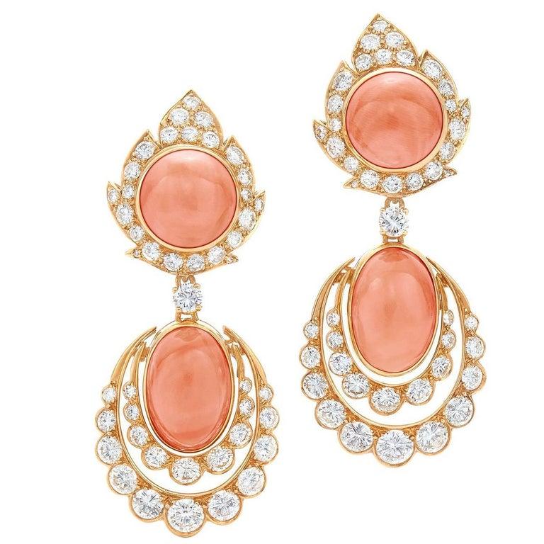1960s Van Cleef & Arpels Coral Diamond Pendant Earrings For Sale