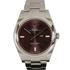 Rolex Stainless Steel Oyster Grape Dial Perpetual 39 Wristwatch Ref 114300