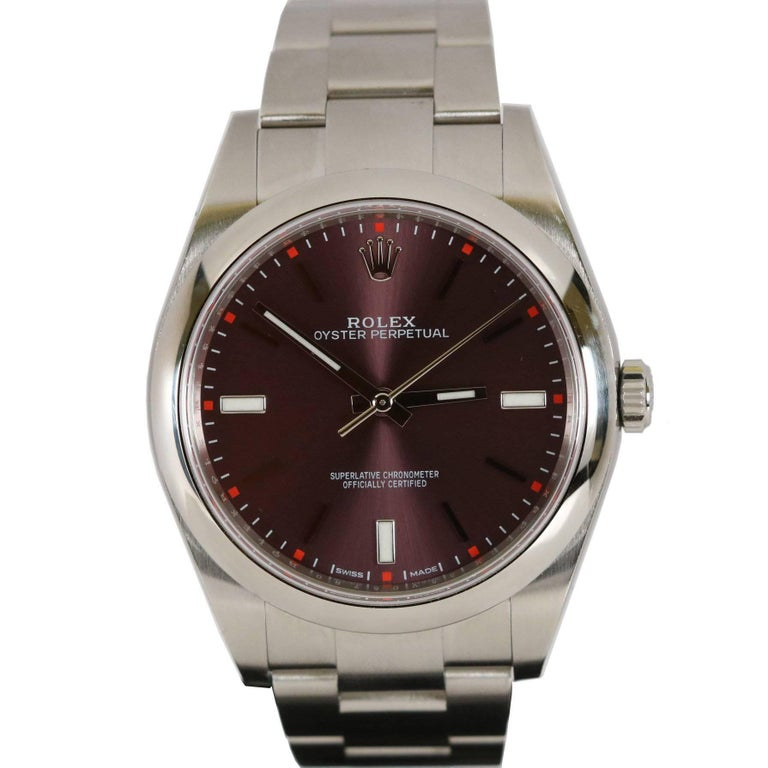 Rolex Stainless Steel Oyster Grape Dial Perpetual 39 Wristwatch Ref 114300 1