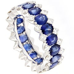 Sapphire Diamond Gold Eternity Ring