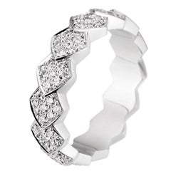 Akillis Python Ring 18 Karat White Gold White Diamonds