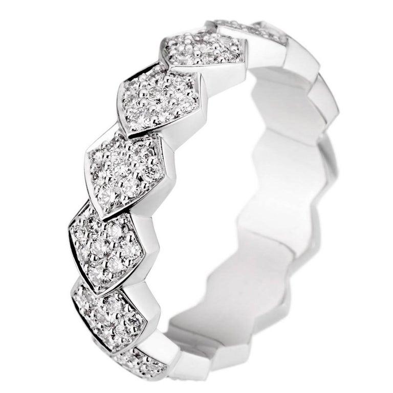 Akillis Python Ring 18 Karat White Gold White Diamonds For Sale