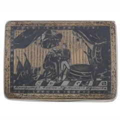 1820s Russian Silver Niello Snuff Box Alexey Sokolov Moscow
