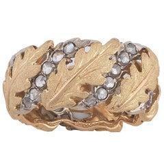 1940s Buccellati Diamond Gold Leaf Ring