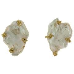Crevoshay Petal Pearl 18 Karat Yellow Gold Earrings