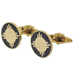 Deakin & Francis Gold Black Enamel Cufflinks