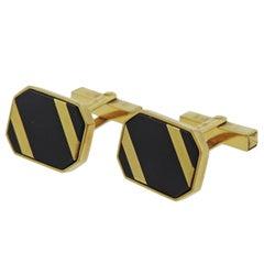 Victor Mayer Gold Black Enamel Cufflinks
