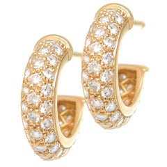 Cartier Diamond and Yellow Gold Mini Hoop Earrings