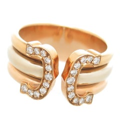 Cartier Double C Tri Color Gold and Diamond Ring