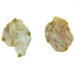 Crevoshay Peach Petal Pearl 18 Karat Yellow Gold Earrings