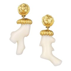 Mahie Off-White Coral and Gold Earrings