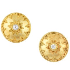 Kimarie Granulated Gold and Diamond Button Stud Earrings