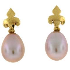 Crevoshay Fleur-de-Lis Pearl 18 Karat Yellow Gold Earrings