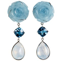 Deux Filles Floral Aquamarine, Blue Topaz, Diamond and Opal Drop Earrings