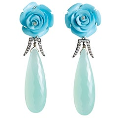 Deux Filles Turquoise, Diamond and Chalcedony Drop Earrings