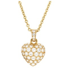 Cartier Diamond Pave Heart Pendant Necklace