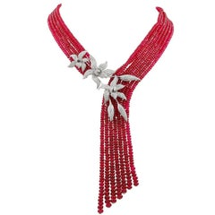 Cartier Diamond Red Spinel Beads Necklace