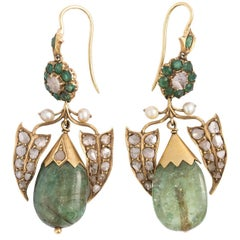 Victorian Emerald and Pearl Earrings