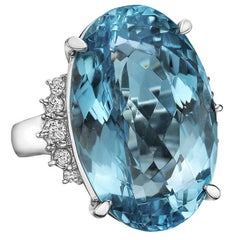 34 Carat Aquamarine Diamond Cocktail Ring