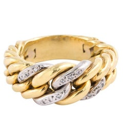 Gold and Diamond Band Ring