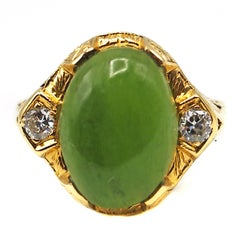 Art Deco Jade Diamond Gold Ring