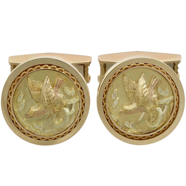 1950s Yellow Gold Bird Cufflinks