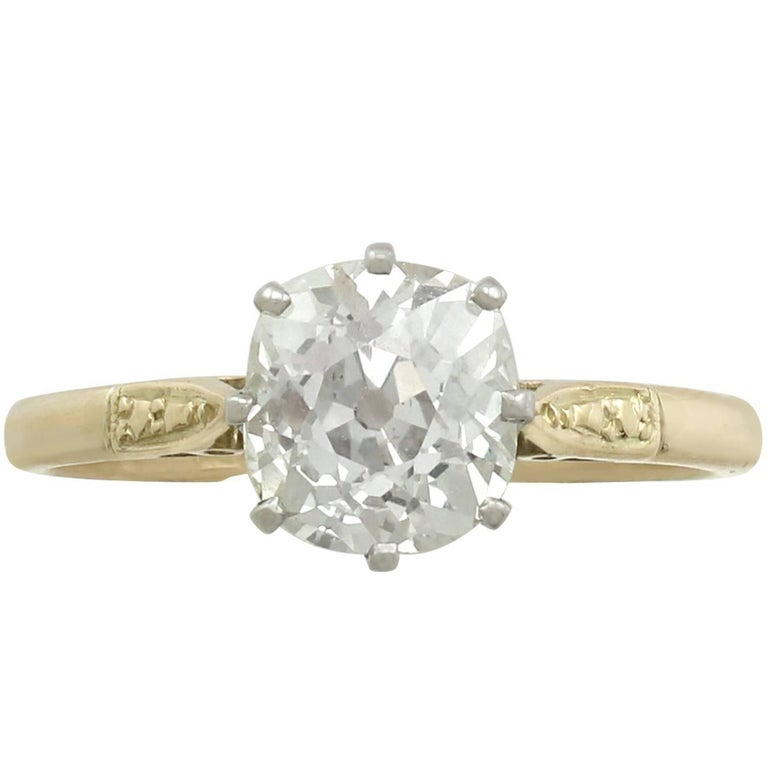 1910s 1.96 Carat Diamond and Yellow Gold Platinum Set Engagement Ring