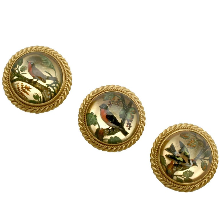 1890s Victorian Essex Crystal and Yellow Gold 'Bird' Dress Studs