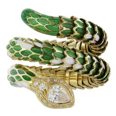 Diamond Enamel Gold Snake Ring