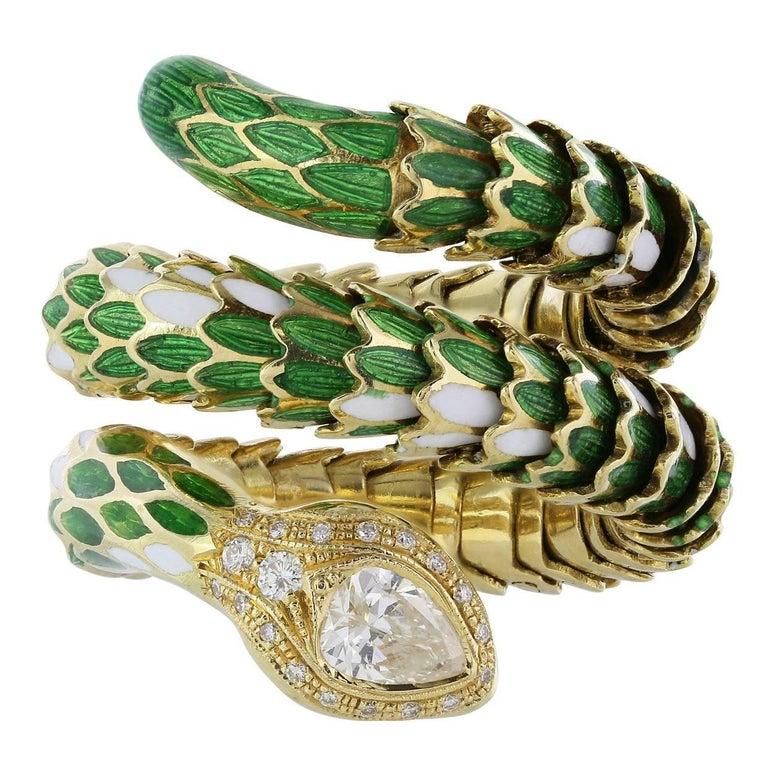 Diamond Enamel Gold Snake Ring