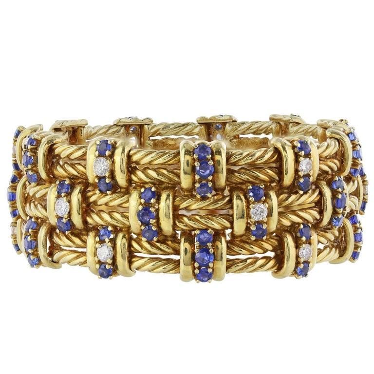 Tiffany & Co. Sapphire Diamond Gold Bracelet
