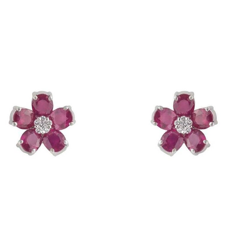 Diamond and Ruby Stud Earrings 8.71 Carat