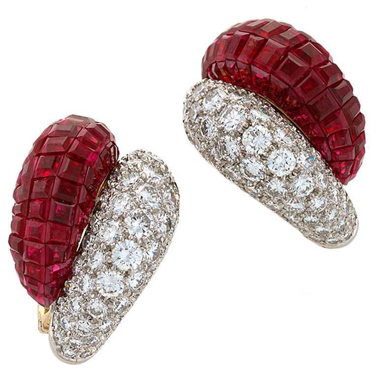 Van Cleef & Arpels Late-20th Century Ruby Diamond Platinum 'Mystère' Earrings 1