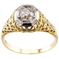 Old Mine Cut 0.35 Carat Diamond Art Deco Gold Engagement Ring
