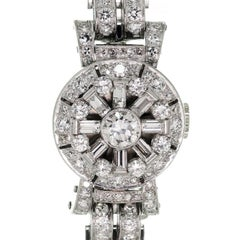 Pery Ladies Platinum Diamond Vintage Covered Face Bracelet Wristwatch