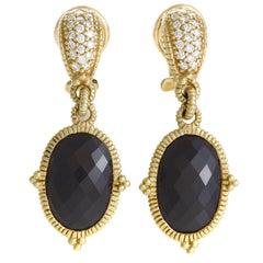 Judith Ripka Diamond and Onyx Yellow Gold Drop Earrings