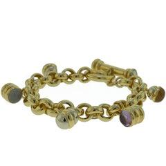 Gold Multi Gem Charm Bracelet