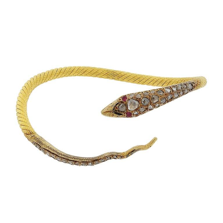 Egyptian Revival Diamond Ruby Gold Serpentine Snake Cuff Bracelet For
