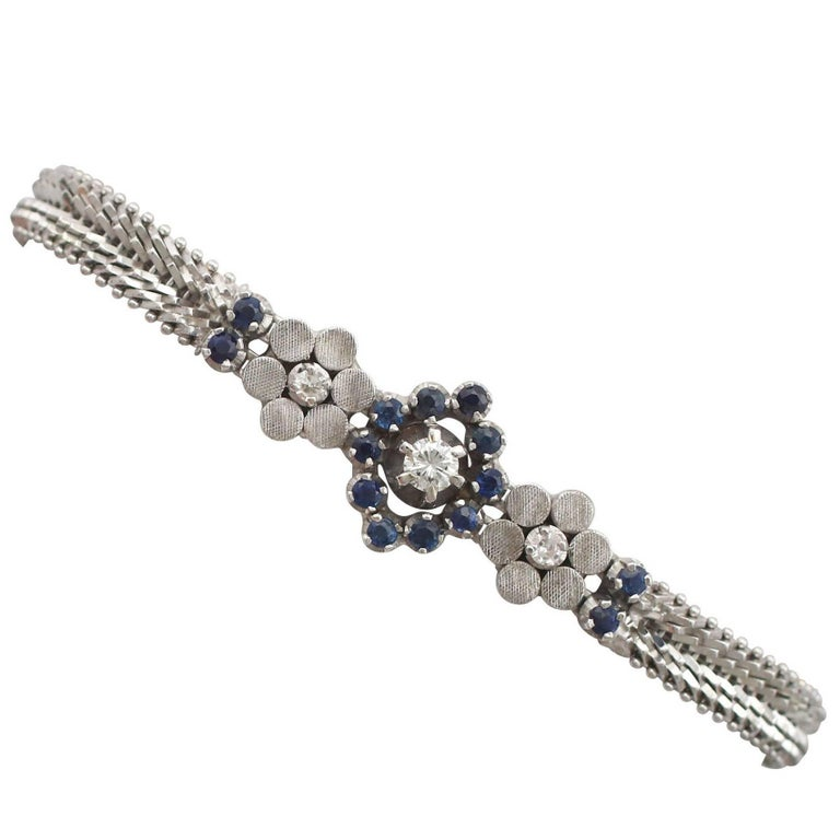 1970s Sapphire and Diamond White Gold Bracelet