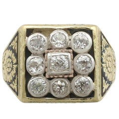 Victorian Diamond Yellow Gold, Silver Set Gents Ring