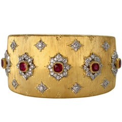 Buccellati Ruby Diamond Gold Cuff Bracelet