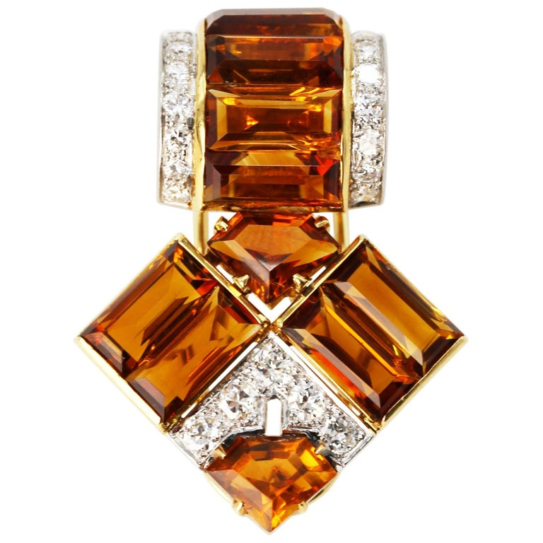 Art Deco Cartier Citrine Diamond Clip 1