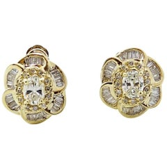 1.75 Carat Diamond Yellow Gold Earrings