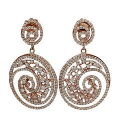 3.89 Carat Diamond Rose Gold Earrings