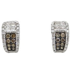 Brown and White Diamond White Gold Earrings
