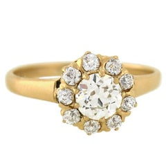 Victorian 1.05 Total Carat Diamond Cluster Engagement Ring