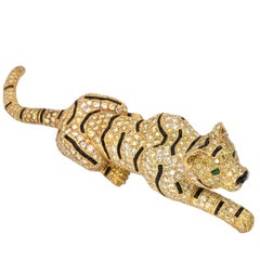 Yellow White Diamond Striped Tiger Brooch