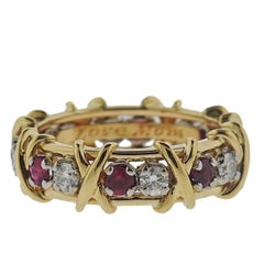 Tiffany & Co. Schlumberger 16-Stone Gold Platinum Diamond Ruby Ring