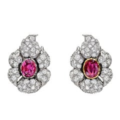 Buccellati Ruby Diamond Cluster Earclips