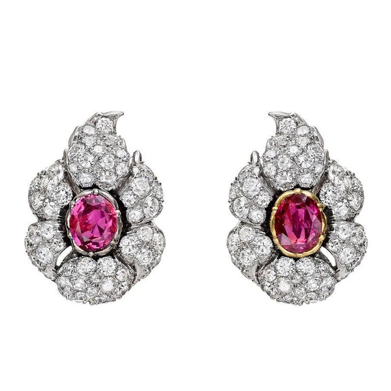 Buccellati Ruby Diamond Cluster Earclips For Sale